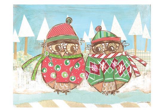 Christmas Owls 3-Erin Butson-Art Print