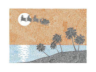Christmas Palms-Viz Art Ink-Giclee Print