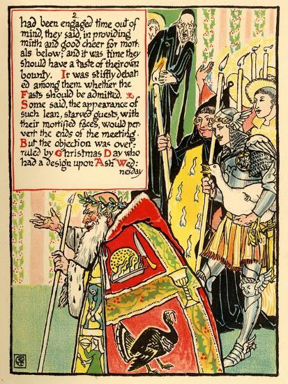 Christmas Procession With Priest Followed By Candle Bearers Art Print Walter Crane Art Com