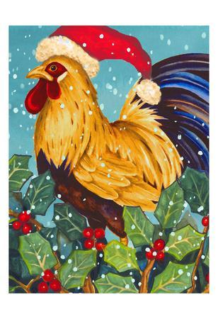 Christmas Rooster-Laurie Korsgaden-Art Print