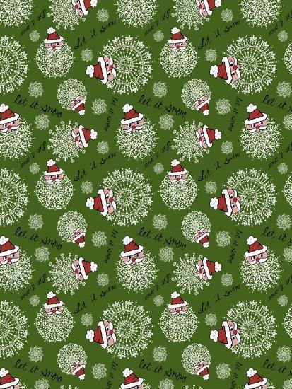Christmas Santa Snowflakes Repeat-Cyndi Lou-Giclee Print