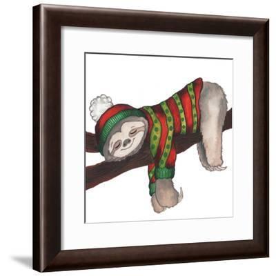 Christmas Sloth III-Elizabeth Medley-Framed Art Print