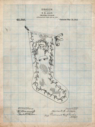 Christmas Stocking 1912 Patent-Cole Borders-Art Print