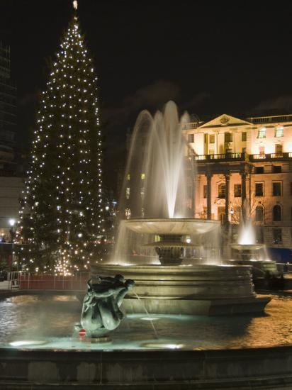 Christmas Tree and Fountains in Trafalgar Square at Night, London-Hazel Stuart-Photographic Print