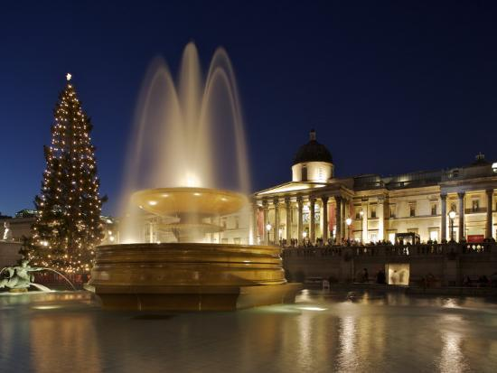 Christmas Tree and Fountains Lit Up in Trafalgar Square for Christmas-Julian Love-Photographic Print