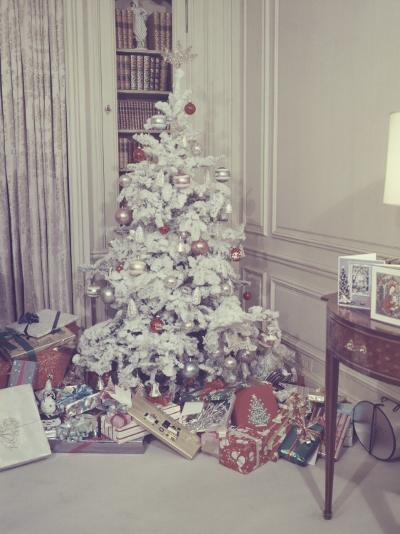 Christmas Tree and Gifts in Living Room-George Marks-Photographic Print