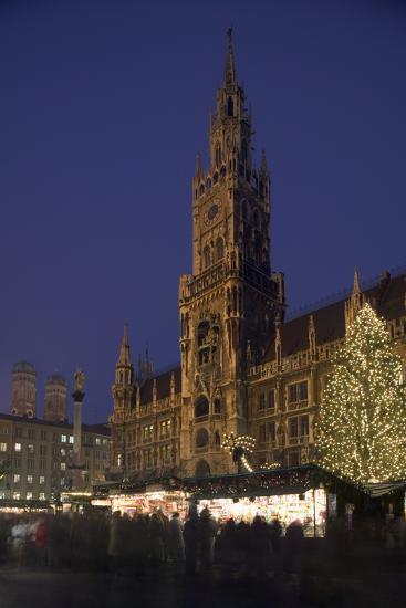 Christmas Tree in Marienplatz in Munich-Jon Hicks-Photographic Print