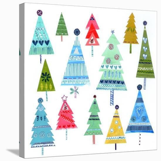 Christmas Trees Collage--Stretched Canvas Print