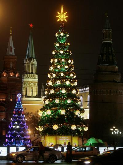 Christmas Trees Rise Just Outside the Moscow Kremlin--Photographic Print
