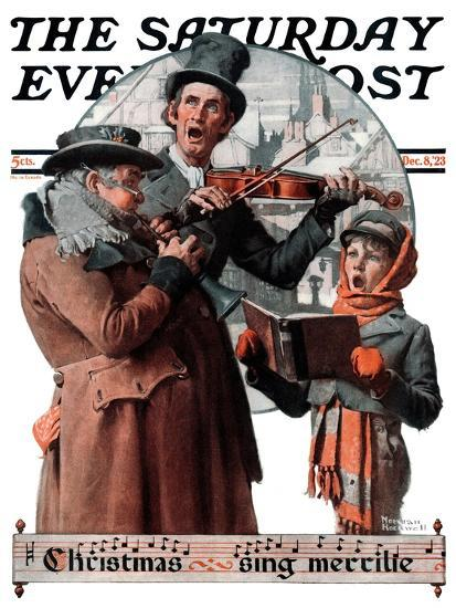 """Christmas Trio"" or ""Sing Merrille"" Saturday Evening Post Cover, December 8,1923-Norman Rockwell-Premium Giclee Print"