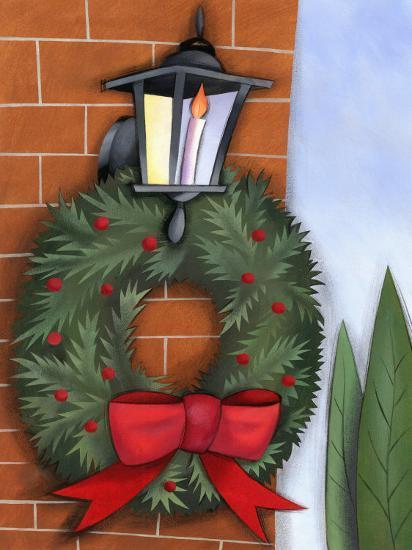 Christmas Wreath on Brick Wall--Photo