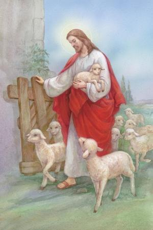 Jesus in a Red Robe with a Herd of Sheep, Shepherd