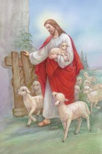 Jesus in a Red Robe with a Herd of Sheep, Shepherd by Christo Monti