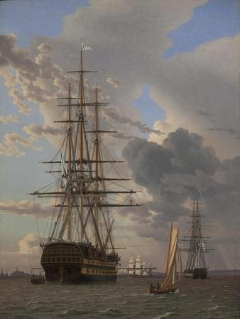 """The Russian Ship of the Line """"Asow"""" and a Frigate at Anchor in the Roads of Elsinore, 1828"""
