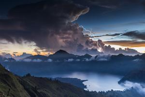 Scenery in the Gunung Rinjani, the Crater Lake, Clouds, Stormy Atmosphere, Flash by Christoph Mohr