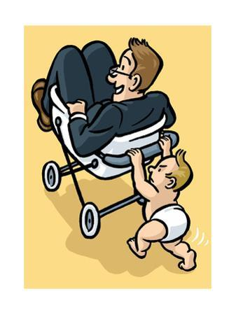 A baby begrudgingly pushes his father in a stroller. - Cartoon by Christoph Niemann
