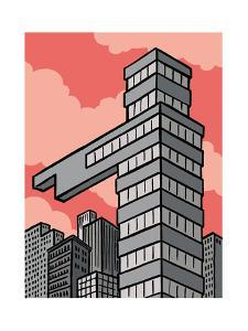 A building points that way - Cartoon by Christoph Niemann