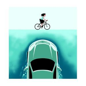 A car emerges from the deep toward a bicyclist - Cartoon by Christoph Niemann