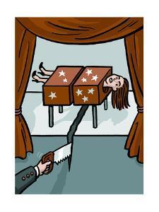 A magician saws through a woman and the floor - Cartoon by Christoph Niemann
