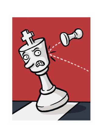 A pawn knocks over a King - Cartoon by Christoph Niemann
