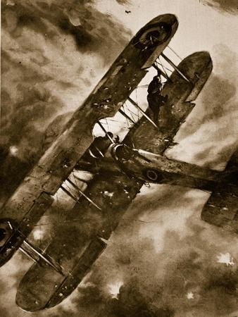 Intrepid British Observer's Balancing Feat in Mid-Air During Heavy Attack of 'Archies', 1914-19