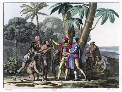 Christopher Columbus Arriving in the New World, 1492 (1817-182)- Bonatti-Giclee Print