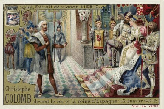 Christopher Columbus before the King and Queen of Spain, 15 January 1492--Giclee Print
