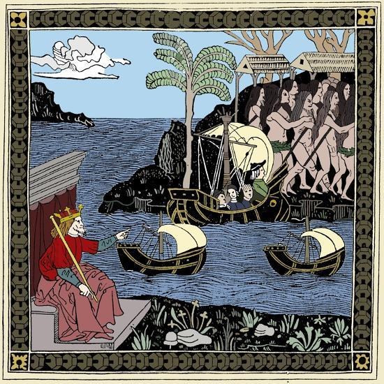Christopher Columbus 'Discovering America', woodcut, 1493-Unknown-Giclee Print
