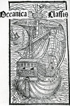Drawing of the Santa Maria, 1493 by Christopher Columbus