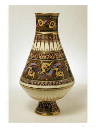 A Minton Porcelain Baluster Vase Painted in Green, Yellow, Blue, Terracotta and Black Enamels