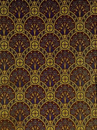 Curtain, Detail, Jacquard-Woven Silk and Wool, Yorkshire, England, 1870