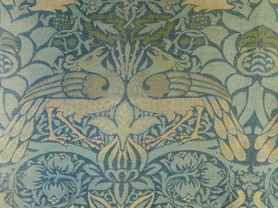 Detail of a Pair of Morris & Co Peacock and Dragon Woven Twill Curtains, circa 1889