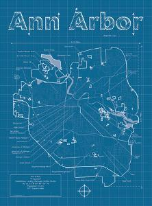 Ann Arbor Artistic Blueprint Map by Christopher Estes