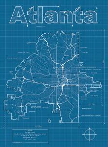 Beautiful atlanta ga artwork for sale prints and posters the new atlanta artistic blueprint map malvernweather Choice Image