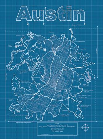 Austin Artistic Blueprint Map by Christopher Estes