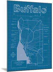 Buffalo Artistic Blueprint Map by Christopher Estes