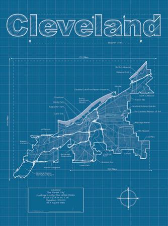Cleveland Artistic Blueprint Map by Christopher Estes