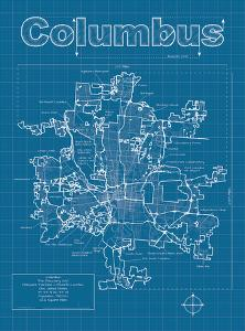 Columbus Artistic Blueprint Map by Christopher Estes