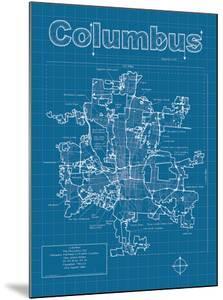 Columbus Artistic Blueprint Map by Christopher Estes