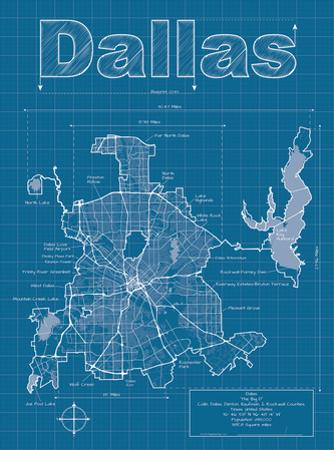 Dallas Artistic Blueprint Map by Christopher Estes