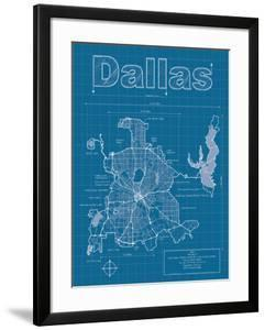 Beautiful maps of dallas tx framed posters artwork for sale dallas artistic blueprint map malvernweather Image collections