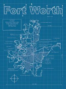 Fort Worth Artistic Blueprint Map by Christopher Estes