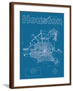 Houston tx artwork for sale posters and prints at art houston artistic blueprint map malvernweather Choice Image