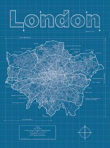 London Artistic Blueprint Map by Christopher Estes
