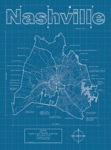 Nashville Artistic Blueprint Map by Christopher Estes