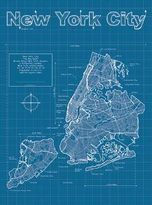 New York City Artistic Blueprint Map by Christopher Estes