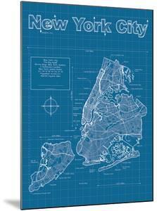 New York City Artistic Blueprint Map by Christopher Estes