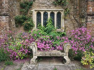 Bench, Stone Seat & Phlox on Patio, Window by Christopher Fairweather