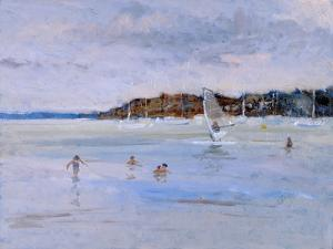 Windsurfer and Bathers by Christopher Glanville