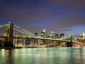 Brooklyn Bridge and Manhattan Skyline at Dusk by Christopher Groenhout